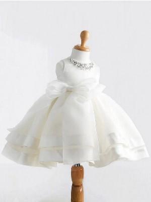 Robe Marquise Bijou Sans manches Bowknot Longueur ras du sol Satiné Robe de fille de fleur