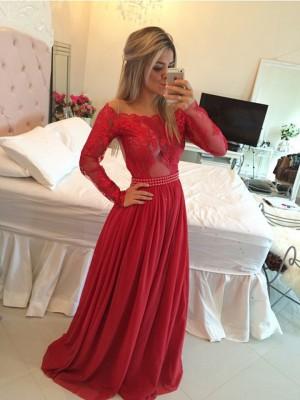 Forme Princesse Hors-la-épaule Balayage/Pinceau traîne Mousseline de soie Robe de bal avec Appliqués