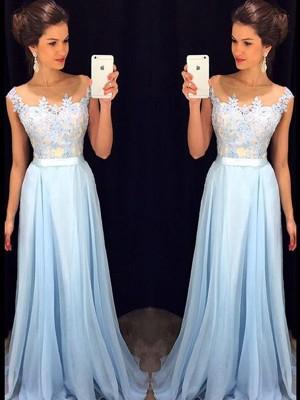 Forme Princesse Sheer Neck Balayage/Pinceau traîne Mousseline de soie Robe de soirée avec Appliqués