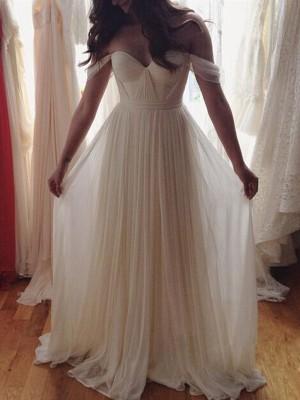 Forme Princesse Hors-la-épaule Longueur ras du sol Mousseline de soie Robe de bal avec Brodé