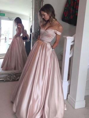 Forme Princesse Hors-la-épaule Sans manches Balayage/Pinceau traîne Satiné Robe de soirée avec Brodé