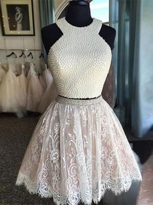 Forme Princesse Bijou Dentelle Sans manches Courte/Mini Robe de soirée à deux pièces avec Perles