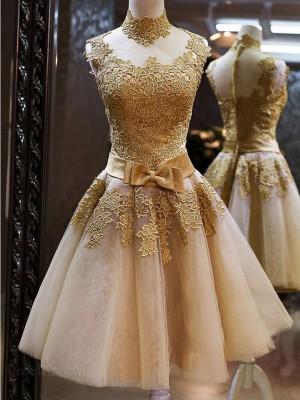 Forme Princesse Col haut Tulle Sans manches Courte/Mini Robe de bal avec Appliqués