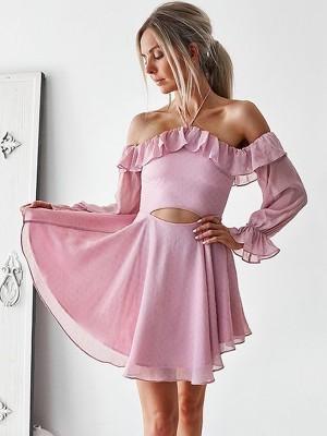 Forme Princesse Hors-la-épaule Mousseline de soie Manches longues Courte Robe de cocktail