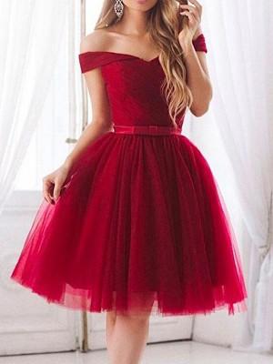 Forme Princesse Hors-la-épaule Tulle Sans manches Longueur genou Robe avec Volants