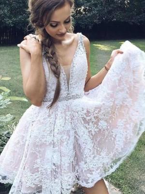 Forme Princesse Col V Tulle Sans manches Courte/Mini Robe avec Appliqués