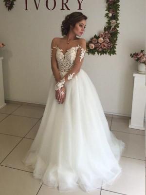 Forme Princesse Hors-la-épaule Balayage/Pinceau traîne Manches longues Organza Robe de mariée