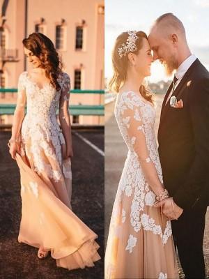 Forme Princesse Col V Balayage/Pinceau traîne Manches longues Tulle Robe de mariée