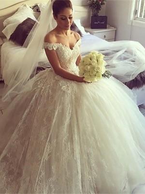Robe Marquise Hors-la-épaule Traîne moyenne Sans manches Robe de mariée