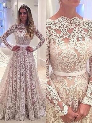 Forme Princesse Col bateau Traîne moyenne Manches longues Robe de mariée