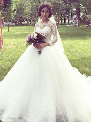 Robe Marquise Col bateau Traîne moyenne Manches longues Tulle Robe de mariée