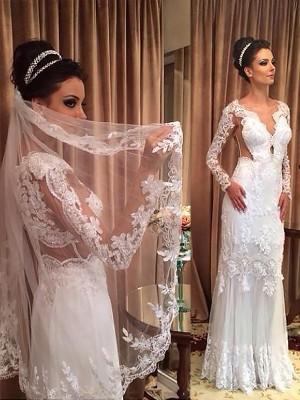 Forme Fourreau Col V Balayage/Pinceau traîne Manches longues Tulle Robe de mariée