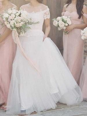 Forme Princesse Col bateau Balayage/Pinceau traîne Manches courtes Tulle Robe de mariée