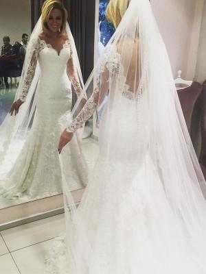 Forme Fourreau Col V Balayage/Pinceau traîne Manches longues Robe de mariée