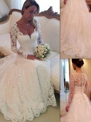 Robe Marquise Col V Traîne moyenne Sans manches Tulle Robe de mariée avec Dentelle