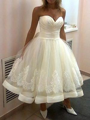 Robe Marquise Amoureux Longueur mollet Sans manches Tulle Robe de mariée avec Appliqués