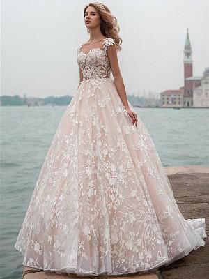 Forme Princesse Col rond Traîne moyenne Mancherons Tulle Robe de mariée avec Dentelle Appliqués