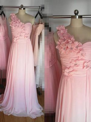 Forme Princesse Seule-épaule Mousseline de soie Longueur ras du sol Sans manches Robe de demoiselle d'honneur avec Fleur