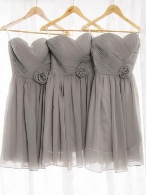 Forme Princesse Amoureux Mousseline de soie Courte/Mini Sans manches Robe de demoiselle d'honneur
