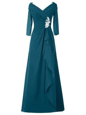 Forme Princesse Col V Manches longues Mousseline de soie Longueur ras du sol Robe mère de la mariée avec Ruché
