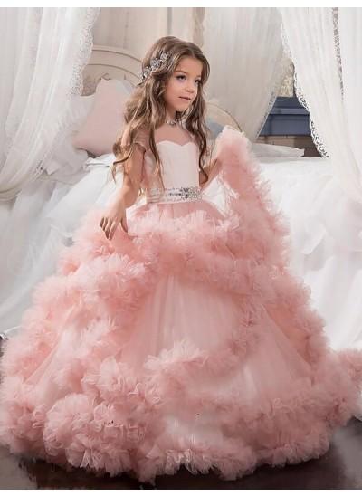 Robe Marquise Bijou Manches courtes Broche en cristal Longueur ras du sol Tulle Robe de demoiselle d'honneur fille
