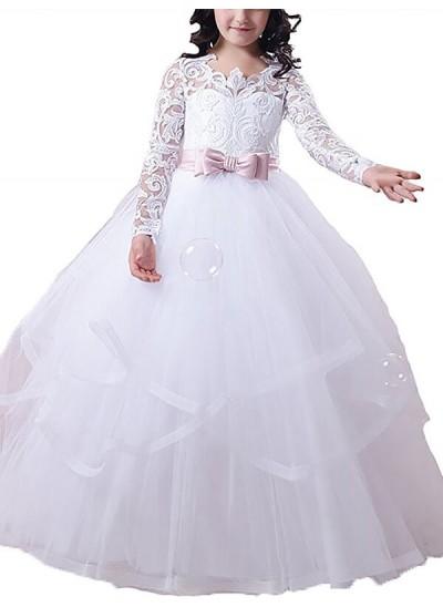 Robe Marquise Bijou Manches longues Longueur ras du sol Tulle Robe de fille de fleur avec Dentelle