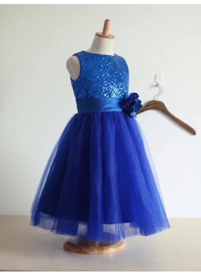 Forme Princesse Bijou Sans manches Fleur Tulle Longueur ras du sol Robe de demoiselle d'honneur fille