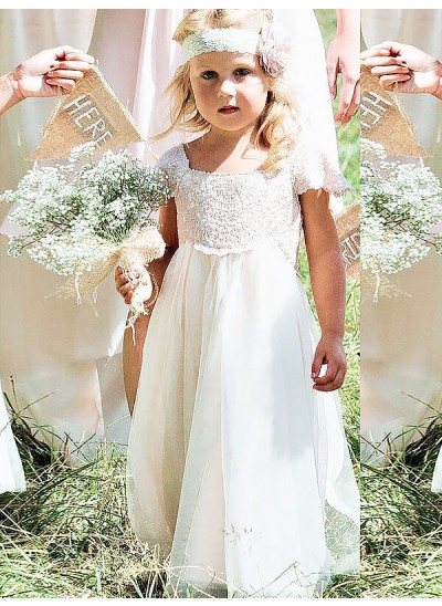Forme Princesse Encolure carrée Manches courtes Longueur ras du sol Mousseline de soie Robe de fille de fleur avec Dentelle
