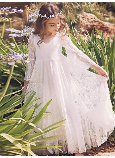 Forme Princesse Manches longues Col V Longueur ras du sol Robe de fille de fleur avec Dentelle