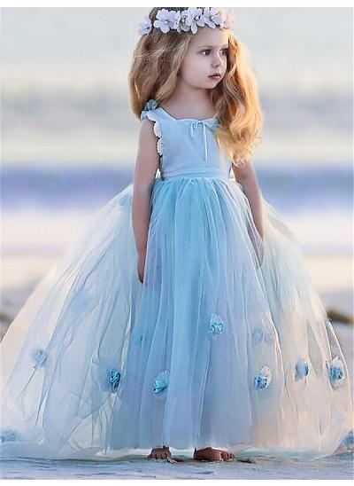 Robe Marquise Col bateau Sans manches Fleur Longueur ras du sol Tulle Robe de fille de fleur