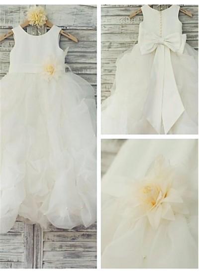 Robe Marquise Col rond Longueur ras du sol Organza Robe de fille de fleur avec Fleur
