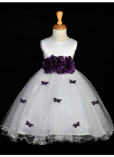 Forme Princesse Col rond Fleur Sans manches Long Organza Robe de fille de fleur