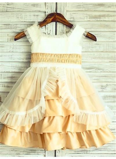 Forme Princesse Encolure carrée Couches Longueur mollet Satiné Robe de fille de fleur avec Brodé