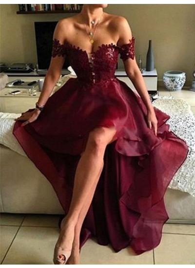 Forme Princesse Hors-la-épaule Asymétrique Organza Robe de bal avec Appliqués