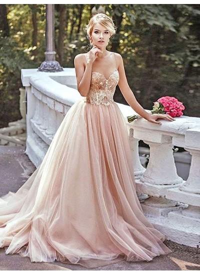 Forme Princesse Amoureux Balayage/Pinceau traîne Tulle Robe de soirée avec Brodé