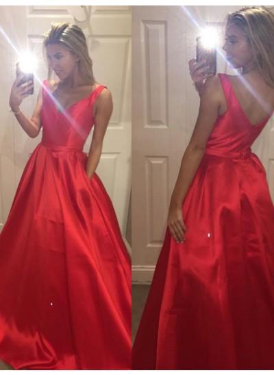 Forme Princesse Col V Balayage/Pinceau traîne Satiné Robe de soirée