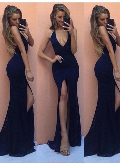 Sexy Forme Fourreau Deep-V Neck Longueur ras du sol Satiné Robe de soirée avec Fente devant