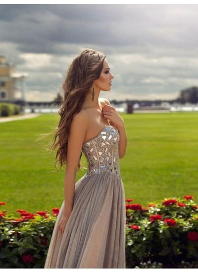 Forme Princesse Amoureux Longueur ras du sol Mousseline de soie Robe de soirée avec Brodé