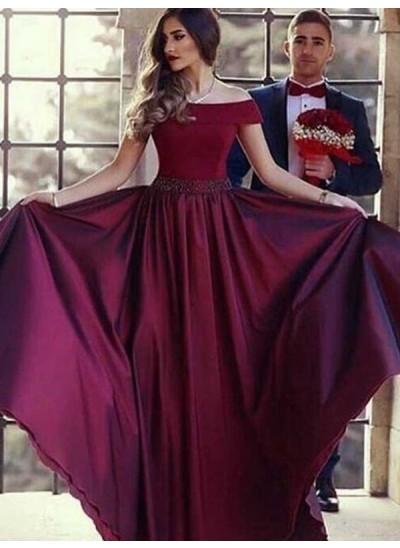 Forme Princesse Hors-la-épaule Balayage/Pinceau traîne Satiné Sans manches Robe de bal avec Volants