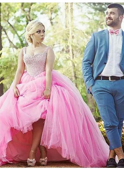 Robe Marquise Amoureux Balayage/Pinceau traîne Sans manches Tulle Robe de soirée grande taille avec Perles