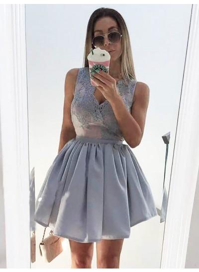Forme Princesse Col V Satiné Sans manches Courte/Mini Robe avec Appliqués