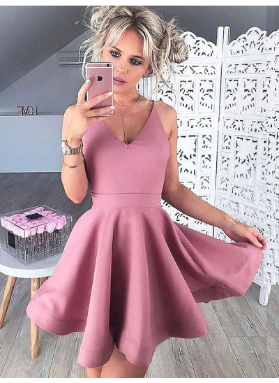 Forme Princesse Col V Satiné Sans manches Courte/Mini Robe de cocktail