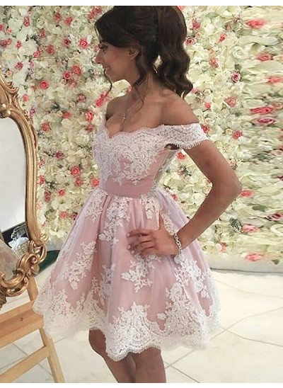Forme Princesse Hors-la-épaule Tulle Sans manches Courte/Mini Robe avec Appliqués