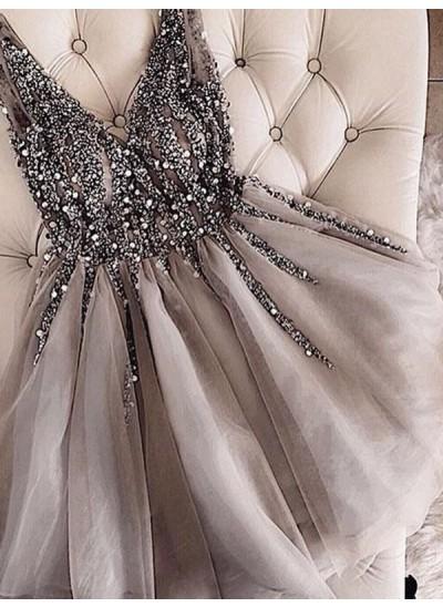 Forme Princesse Col V Tulle Sans manches Courte/Mini Robe avec Pailleté