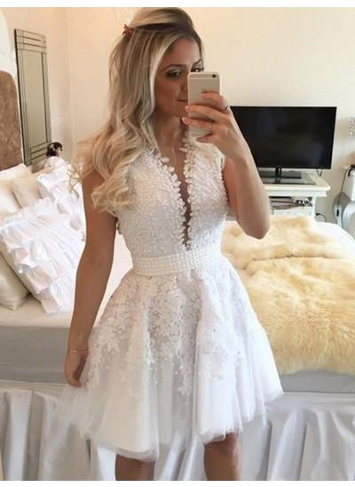 Forme Princesse Col V Tulle Sans manches Courte/Mini Robe avec Brodé