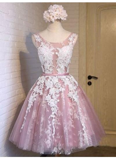 Forme Princesse Col rond Tulle Sans manches Courte/Mini Robe avec Appliqués