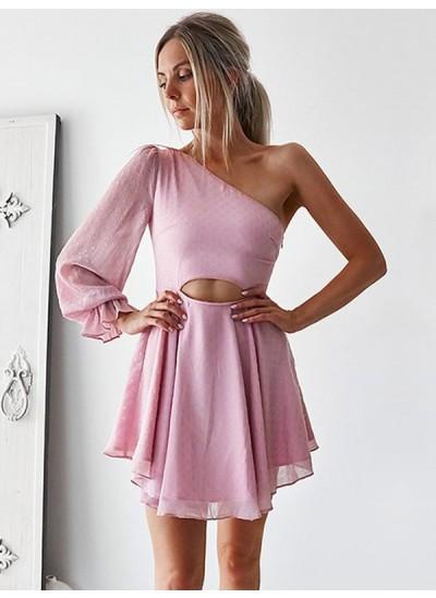 Forme Princesse Seule-épaule Mousseline de soie Manches longues Courte Robe de cocktail