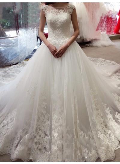 Robe Marquise Col bateau Sans manches Tulle Traîne moyenne Robe de mariée avec Appliqués