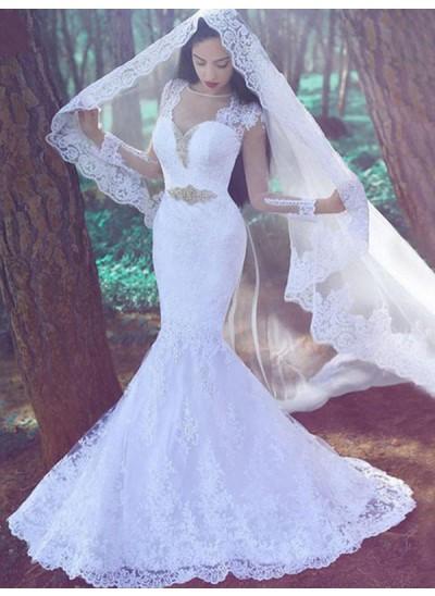 Forme Sirène/Trompette Amoureux Traîne moyenne Manches longues Dentelle Robe de mariée avec Appliqués
