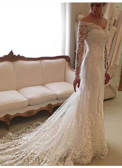 Forme Fourreau Hors-la-épaule Traîne moyenne Manches longues Robe de mariée